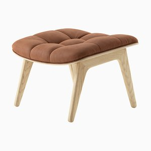 Natural Oak & Rust-Colored Leather Mammoth Ottoman by Rune Krøjgaard & Knut Bendik Humlevik for Norr11