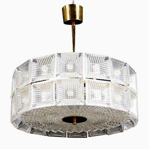 Lámpara de araña de latón y cristal de Carl Fagerlund para Orrefors, años 60