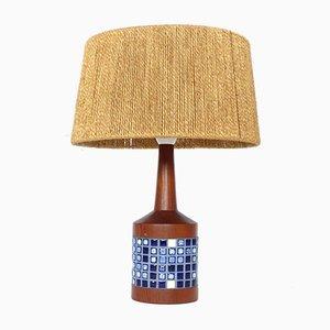 Moderne dänische Tischlampe aus Keramik & Teak, 1960er