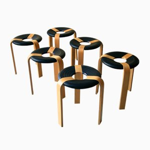 Danish Plywood Stools by Rud Thygesen for Magnus Olesen, 1978, Set of 6