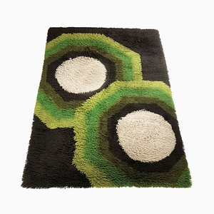 Large Vintage Colorful Cubic High Pile Rug by Desso, 1970s