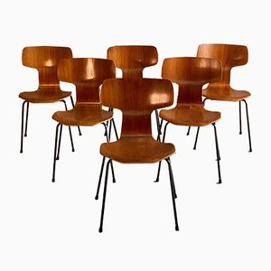 3103 Grand Prix Hammer Chairs by Arne Jacobsen for Fritz Hansen, 1960s, Set of 6