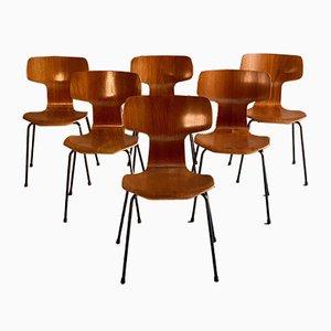 3103 Grand Prix Hammer Stühle von Arne Jacobsen für Fritz Hansen, 1960er, 6er Set