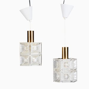 Brass and Crystal Pendants by Carl Fagerlund for Orrefors, 1960s, Set of 2