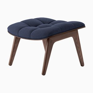 Dark Stained Oak & Navy Blue Wool Mammoth Ottoman by Rune Krøjgaard & Knut Bendik Humlevik for Norr11