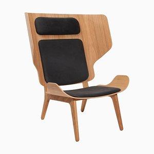 Mammoth Stuhl aus natürlicher Eiche & anthrazitblauem Leder von Rune Krøjgaard & Knut Bendik Humlevik für Norr11