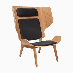 Natural Oak & Leather Anthracite Mammoth Chair by Rune Krøjgaard & Knut Bendik Humlevik for Norr11