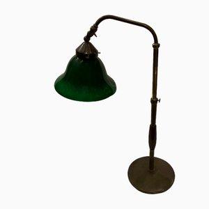 Lampe de Bureau Industrielle en Hêtre et Laiton, Italie, 1930s