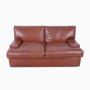 Vintage Italian Leather & Down Sofa, 1970s