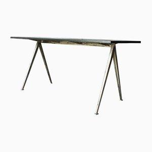Mesa o escritorio Pyramid de roble y acero de Wim Rietveld para Ahrend De Cirkel, años 60