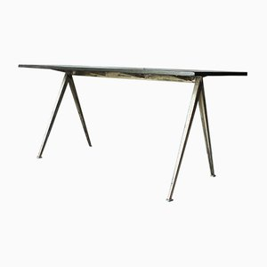 Oak & Steel Pyramid Table or Desk by Wim Rietveld for Ahrend De Cirkel, 1960s