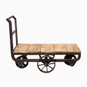 Mid-Century Industrial French Iron and Wood Trolley, 1940s