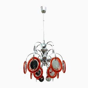 Italienische Deckenlampe aus Metall & mundgeblasenem Glas von Gino Vistosi für Vistosi, 1960er