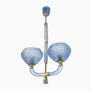 Italian Brass & Hand-Blown Murano Glass Ceiling Lamp from Barovier & Toso, 1930s