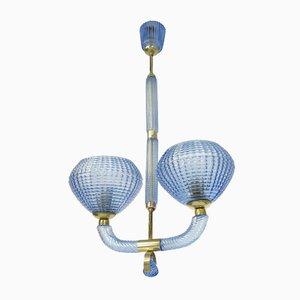 Lámpara de techo italiana de cristal de Murano soplado y latón de Barovier & Toso, años 30