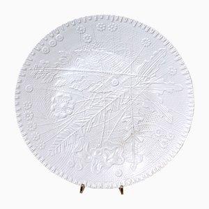 Plato Mid-Century de cerámica con estampado de tejido grabado de Rosenthal, años 50