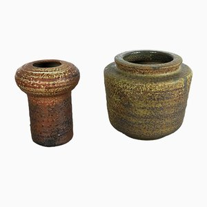 Jarrones de cerámica y loza de barro cocida de Piet Knepper para Mobach, años 60. Juego de 2