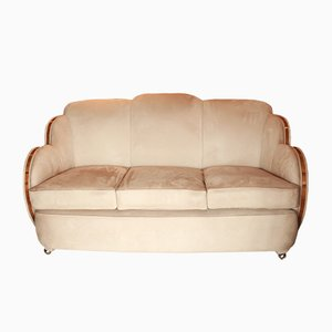 Art Deco Suede 3-Seater Sofa by Harry and Lou Epstein, 1930s