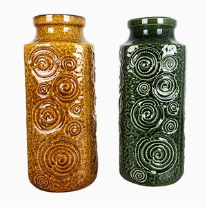 German Ceramic Vases from Scheurich, 1970s, Set of 2