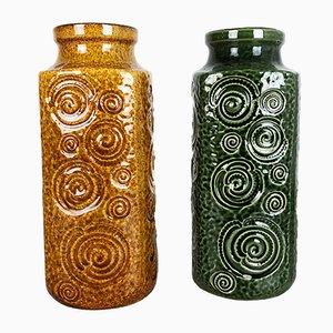 Jarrones alemanes de cerámica de Scheurich, años 70. Juego de 2