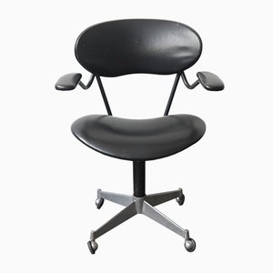 Mid-Century Italian Steel and Vinyl Desk Chair, 1960s