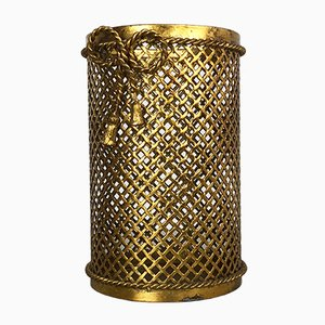 Hollywood Regency Gilded Waste Paper Basket from Li Puma, 1950s