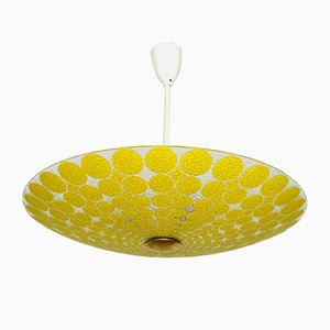 German Glass Ceiling Lamp from VEB Narva Luchten, 1970s