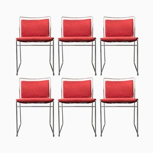Italian Chrome Plated Dining Chairs by Kazuhide Takahama for Simon, 1974, Set of 6