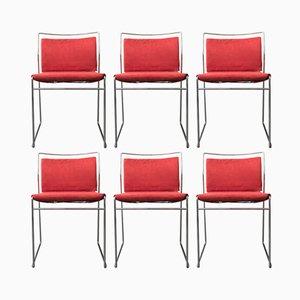 Italienische Esszimmerstühle mit verchromtem Metallgestell von Kazuhide Takahama für Simon, 1974, 6er Set