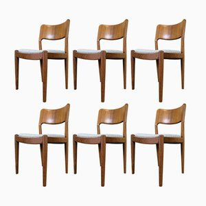 Vintage Danish Teak Dining Chairs by Juul Kristensen for Glostrup, 1970s, Set of 6