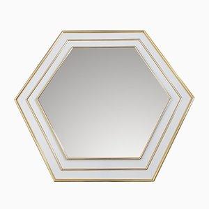 Espejo hexagonal lacado en blanco y dorado, años 70