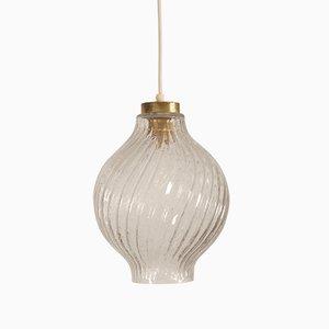Lampe à Suspension Tulipe en Verre Texturé et Laiton par J.T. Kalmar pour Kalmar, 1950s
