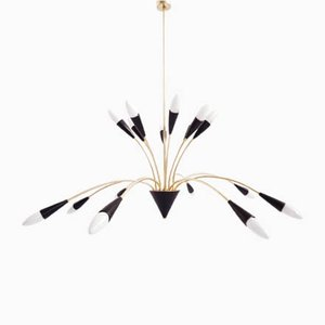 16-Arm Aluminum and Brass Chandelier by Prof. D. Moor for BAG Turgi, 1950s