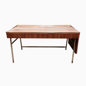 Moderner Schreibtisch aus Messing & Palisander im skandinavischen Stil, 1950er