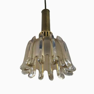 German Brass & Frosted Glass Tulip Pendant Lamp from Doria Leuchten, 1960s
