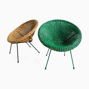 Italienische Gartenstühle aus Eisen & Rattan, 1950er, 2er Set