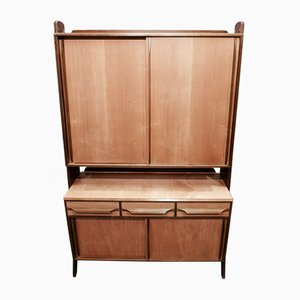 Scandinavian Modern Birch and Brass Wall Unit, 1950s