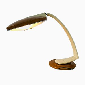 Lampada da tavolo Mid-Century in acciaio e vetro di Fase, anni '60