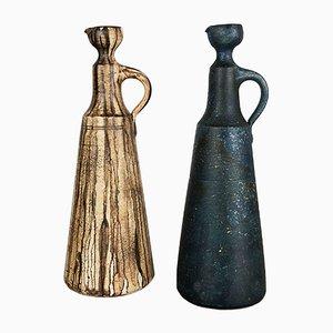 Jarrones alemanes de cerámica de Gerhard Liebenthron, años 80. Juego de 2