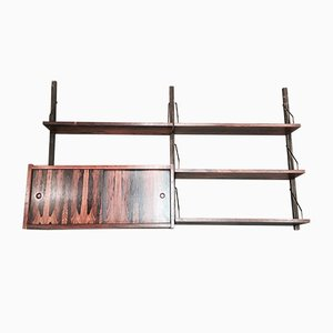 Scandinavian Modern Brass and Palisander Shelf, 1950s