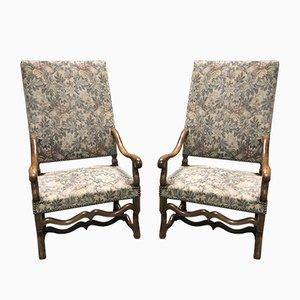 Handgefertigte französische Vintage Sessel mit Gestell aus Nussholz, 2er Set