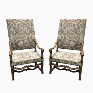 Vintage Hand-Crafted French Walnut Armchairs, Set of 2