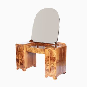 Vintage Art Deco Walnut Dressing Table, 1930s
