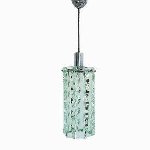 Lámpara de techo italiana de aluminio y vidrio cortado de Max Ingrand para Fontana Arte, años 60