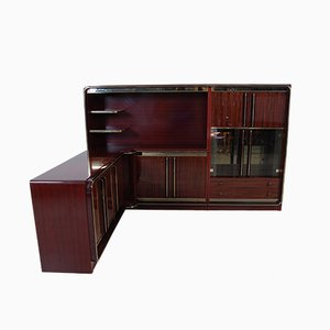 Modulares italienisches Sideboard aus Messing & Mahagoni mit Entertainment-Konsole