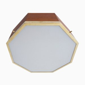 Italian Brass and Frosted Octagonal Flush Mount by Francon Albini, 1950s