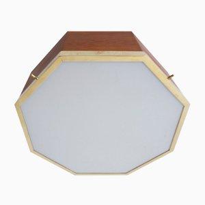 Plafón italiano de latón y vidrio esmerilado de Francon Albini, años 50