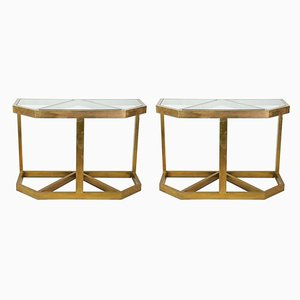 Brass & Glass Console Tables, 1970s, Set of 2