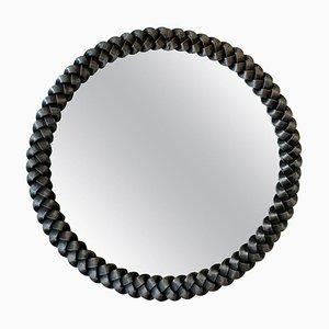 Runder französischer Spiegel mit Rahmen aus geflochtenem Schmiedeeisen, 1940er