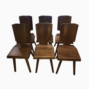 Französische S28A Beistellstühle aus Ulmenholz von Pierre Chapo, 1970er, 6er Set